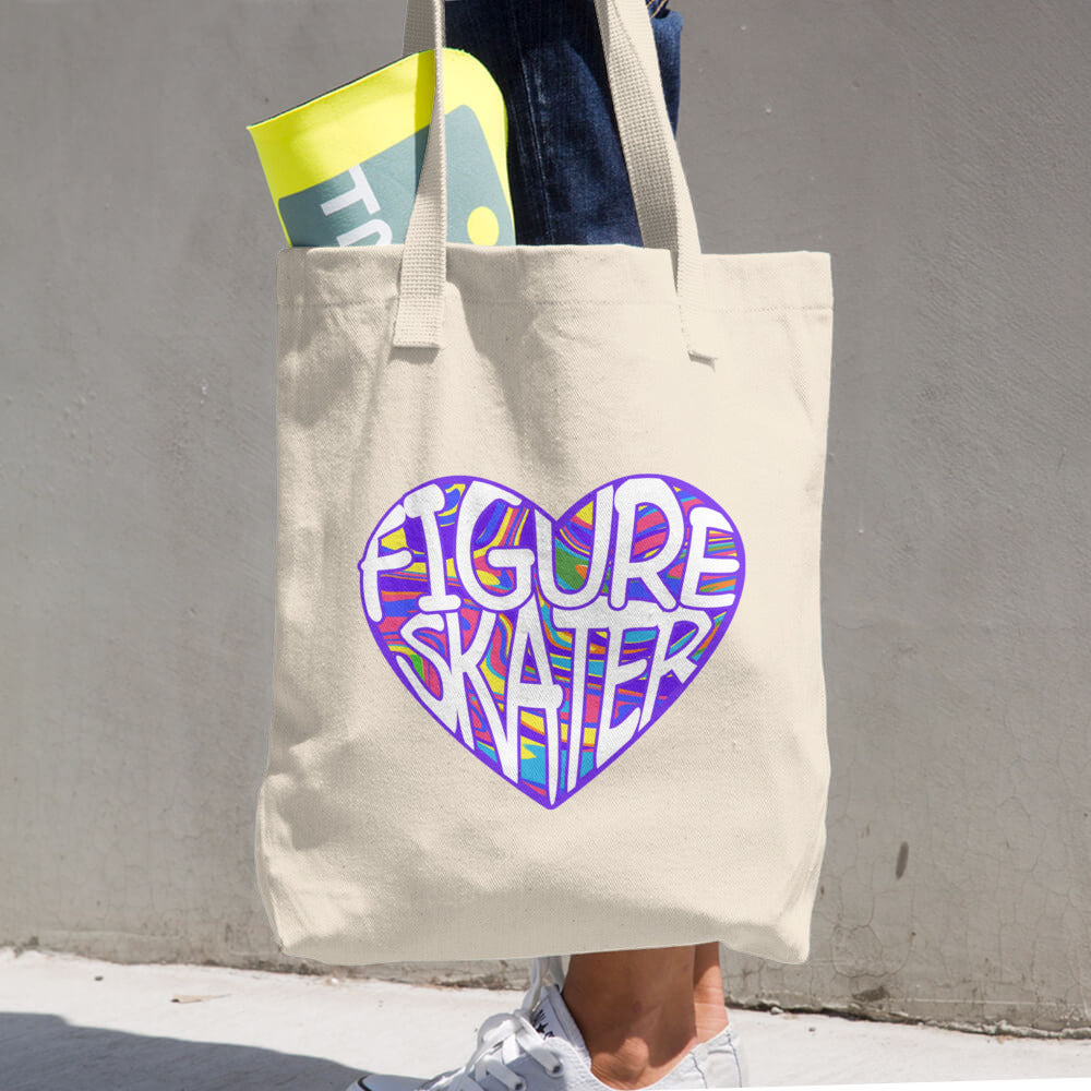 Figure Skater Heart Denim Woven Cotton Tote Bag