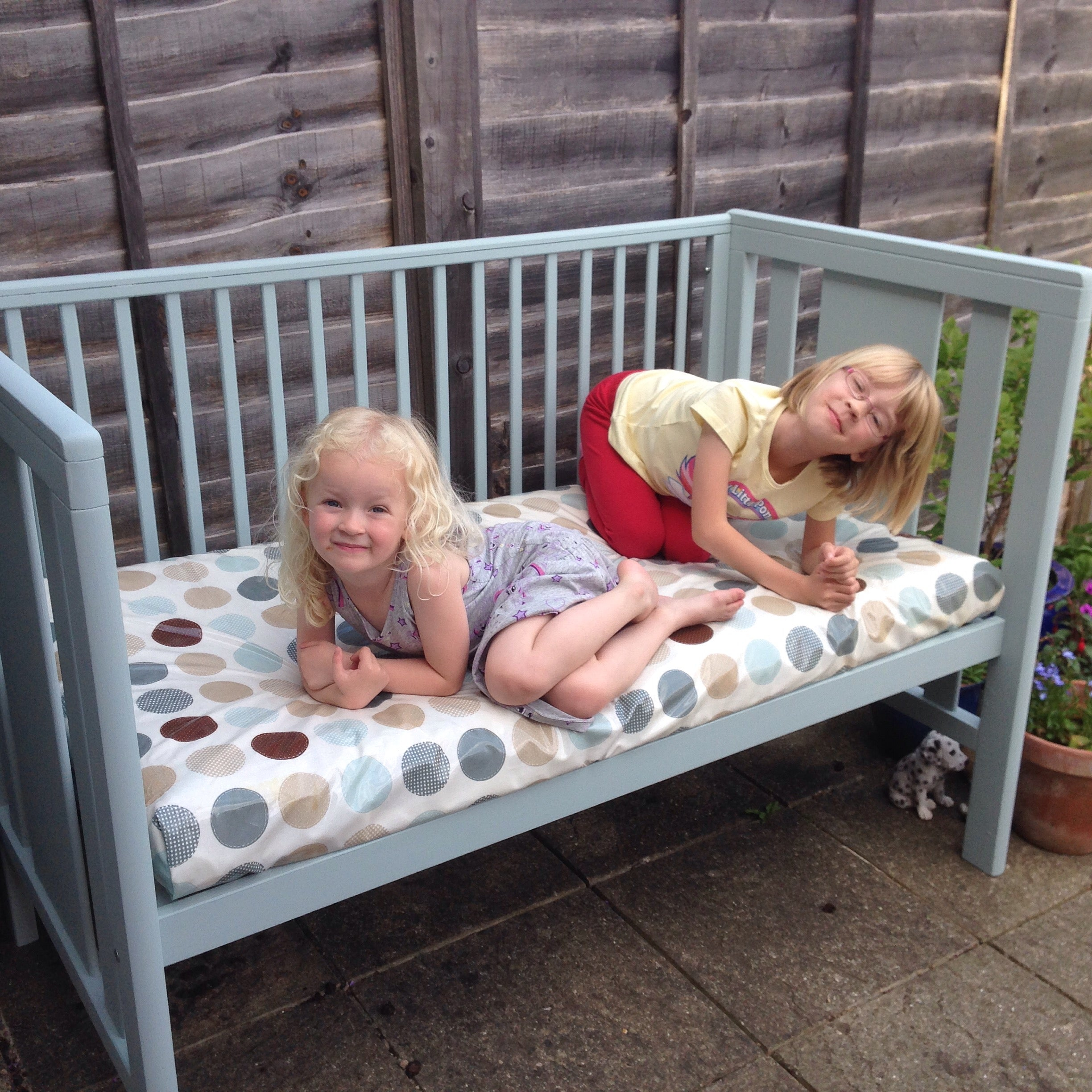 recycle week upcycled cot into a bench