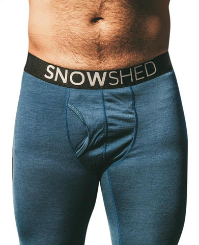 Snowshed Merino USA wool long johns in blue - snow shed