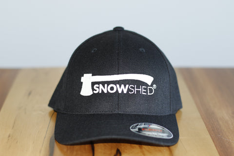 Snowshed fitted wool hat in black - FlexFit - snow shed