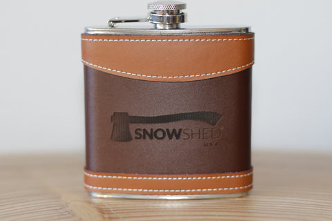 Snowshed leather flask - snow shed