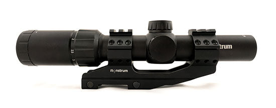Monstrum Tactical 1.5-4x24 scope with mil-dot or rangefinder reticle