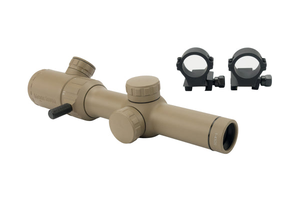 1-4x20 Rifle Scope - Illuminated Range Finder Reticle, Flat Dark Earth - Rifle Scopes - Monstrum Tactical - 1