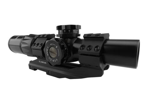 1-6x24 First Focal Plane Rifle Scope - Range Finder Reticle with Offset Dual Ring Scope Mount