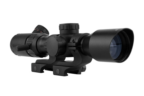 2-7x32 Rifle Scope - Rangefinder Reticle and Offset Reversible Scope Rings