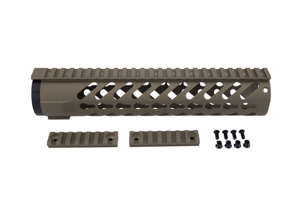 AR-15 Keymod Rail Handguard - 10 inch | Free Float | Flat Dark Earth - Quad Rails - Monstrum Tactical - 1