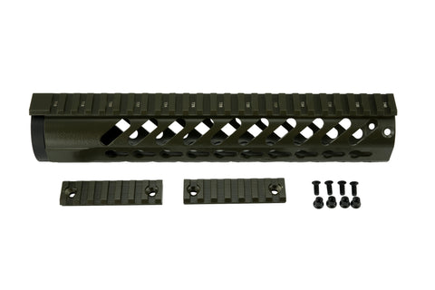 AR-15 Keymod Rail Handguard - 10 inch | Free Float | Olive Drab Green - Quad Rails - Monstrum Tactical - 1