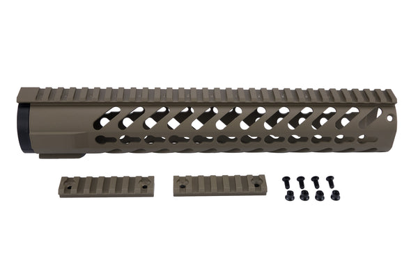 AR-15 Keymod Rail Handguard - 12 inch | Free Float | Flat Dark Earth - Quad Rails - Monstrum Tactical - 1