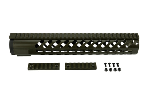 AR-15 Keymod Rail Handguard - 12 inch | Free Float | Olive Drab Green - Quad Rails - Monstrum Tactical - 1