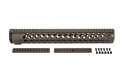 AR-15 Keymod Rail Handguard - 15 inch | Free Float | Flat Dark Earth - Quad Rails - Monstrum Tactical - 1