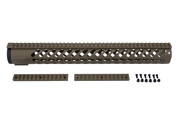 AR-15 Keymod Rail Handguard - 16.5 inch | Free Float | Flat Dark Earth - Quad Rails - Monstrum Tactical - 1