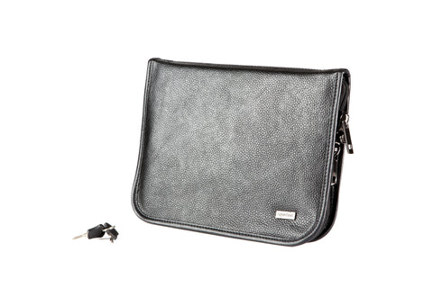 Compact (8.5 x 11 inch) Pistol Case with MagLock™ Magnetic Lining System and Locking Zipper (Black Leather)
