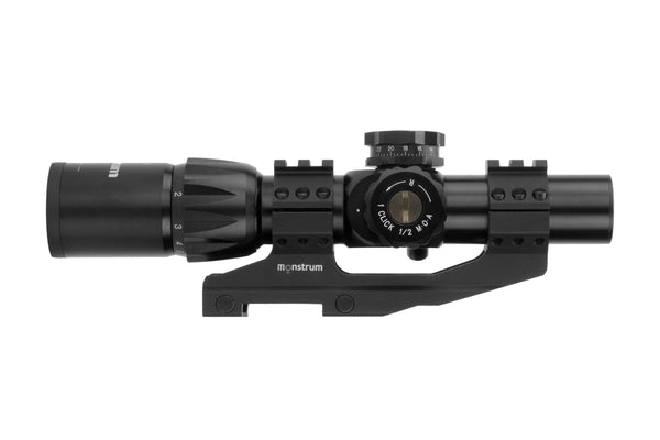 1-6x24 First Focal Plane Rifle Scope - Range Finder Reticle - Offset Dual Ring Scope Mount