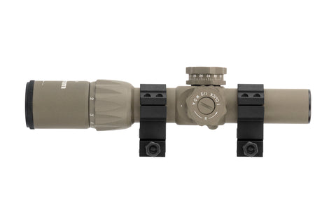1-6x24 First Focal Plane Rifle Scope - Range Finder Reticle, FDE