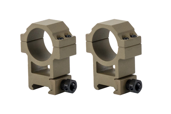 30mm Heavy Duty High Performance Scope Rings | Picatinny Mount | High Profile | Flat Dark Earth