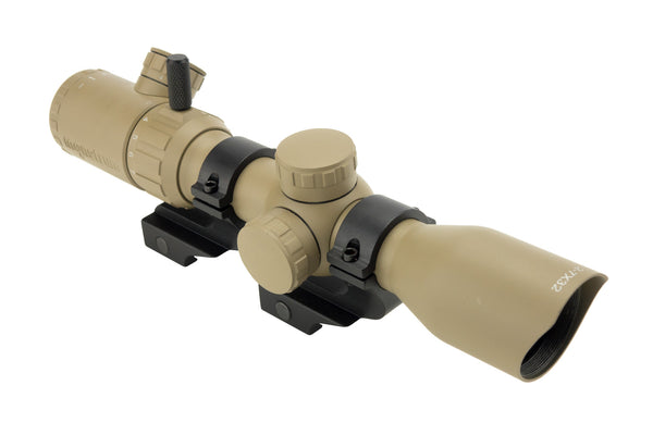 2-7x32 Rifle Scope - Rangefinder Reticle and Offset Reversible Scope Rings - FDE - Rifle Scopes - Monstrum Tactical - 1