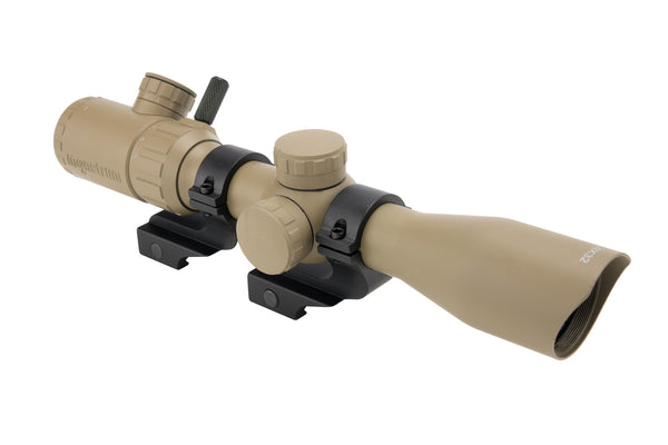 3-9x32 Rifle Scope - Rangefinder Reticle and Offset Reversible Scope Rings - FDE - Rifle Scopes - Monstrum Tactical - 1