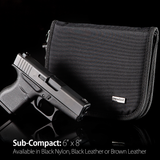 Sub-Compact (6 x 8 inch) Pistol Case with MagLock™ Magnetic Lining System and Locking Zipper (Black Leather)