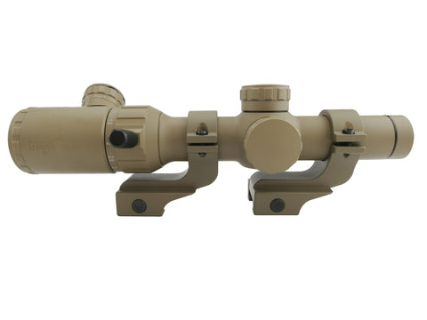 1-4x20 Rifle Scope - Illuminated Range Finder Reticle, Flat Dark Earth with FDE Offset Rings