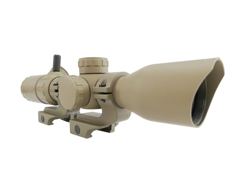 2-7x32 Rifle Scope - Rangefinder Reticle and Offset Reversible Scope Rings, FDE with FDE Offset Rings