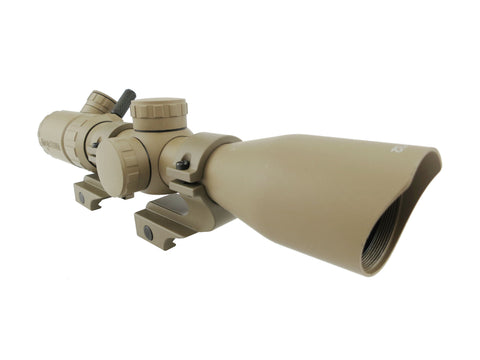 3-9x32 Rifle Scope - FDE Rangefinder Reticle with FDE Offset Scope Rings