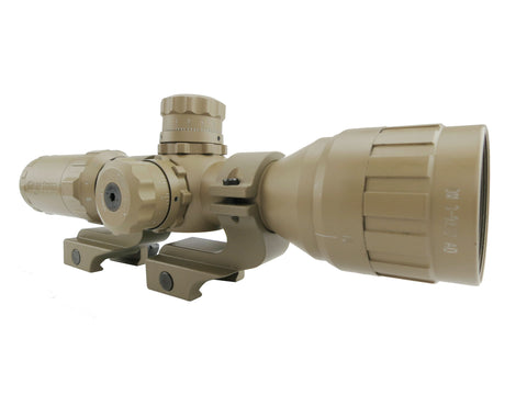 3-9x32 Rifle Scope FDE - Adjustable Objective Lens and Rangefinder Reticle with FDE Offset Scope Ring