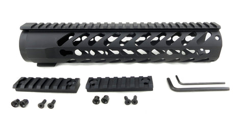 AR-15 Keymod Rail Handguard - 10 inch | Free Float | Black - Quad Rails - Monstrum Tactical - 1