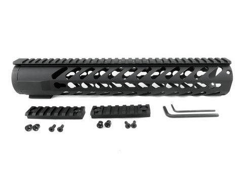AR-15 Keymod Rail Handguard - 12 inch | Free Float | Black - Quad Rails - Monstrum Tactical - 1