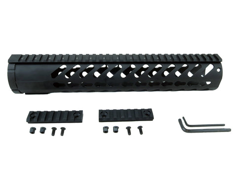 LR-308 Keymod Rail Handguard - 12 inch | Free Float | Black - Quad Rails - Monstrum Tactical - 1
