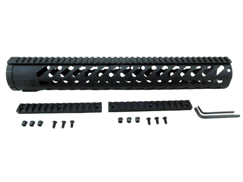 LR-308 Keymod Rail Handguard - 15 inch | Free Float | Black - Quad Rails - Monstrum Tactical - 1