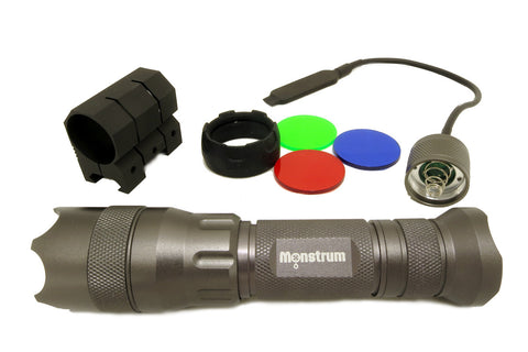 200 Lumens Tactical Flashlight with Strobe, Remote Switch, and Rail Mount - Optics - Monstrum Tactical - 1