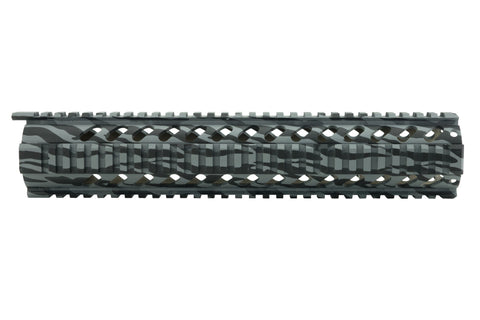 AR-15 Quad Rail Handguard - 12 inch | Free Float | Grey Tiger Stripe - Quad Rails - Monstrum Tactical