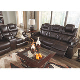 Matrix Power Reclining Sofa With Power Headrest - Chocolate