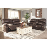 Hallstrung Power Reclining Loveseat w/ Console - Chocolate