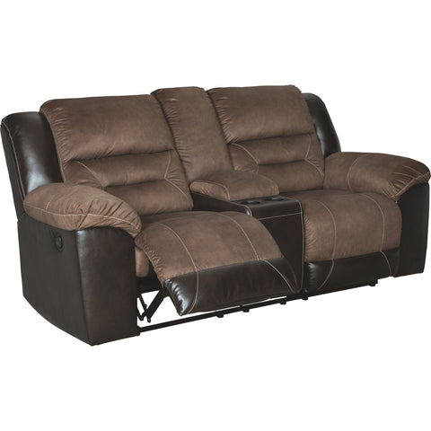 Earhart Reclining Loveseat with Console - Chestnut