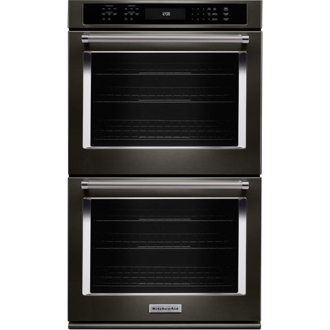 "KitchenAid 27"" Double Wall Oven - Black Stainless"