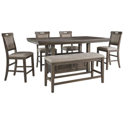 Johurst 6 Piece Dining Room - Grayish Brown