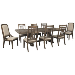 Wyndahl 9 Piece Dining Room - Rustic Brown