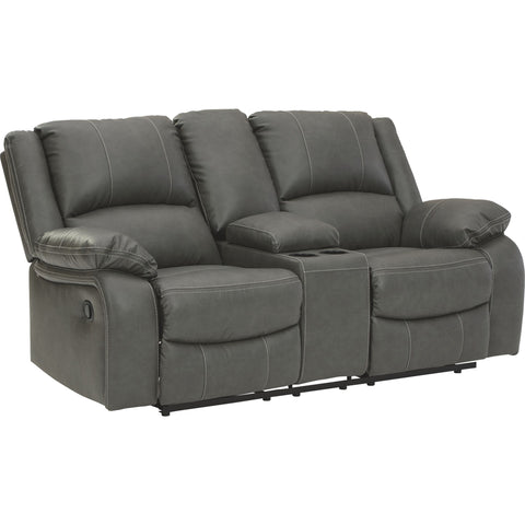 Calderwell Reclining Loveseat with Console - Gray