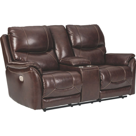 Dellington Power Reclining Love/Console w/Power Headrest & Lu - Walnut