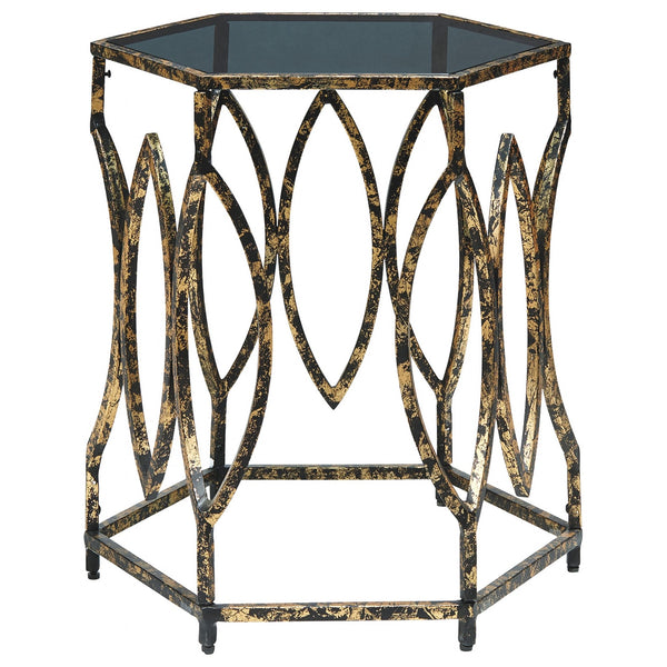 Keita  Accent Table - Black/Gold Finish
