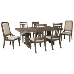 Wyndahl 7 Piece Dining Room - Rustic Brown