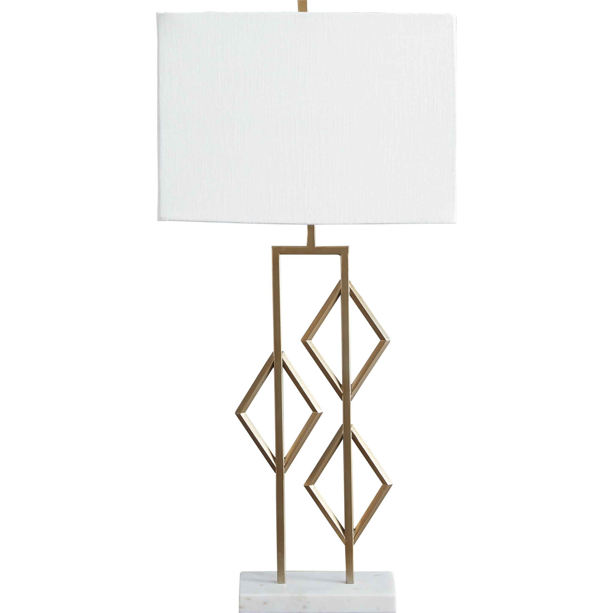 Edsel Table Lamp - Champagne/White