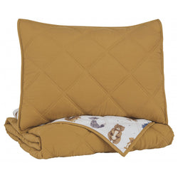 Cooperlen Twin Quilt Set - Golden Brown