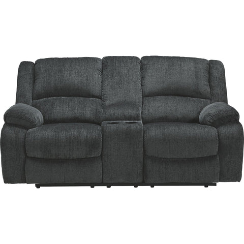 Draycoll Reclining Loveseat with Console - Slate