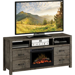 Stockton Media Console With Fireplace - Slate