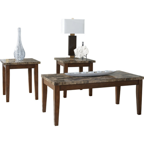 Theo 3 Pack Tables - Medium Brown