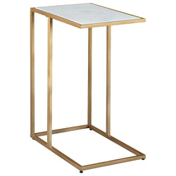 Lanport  Accent Table - Gold Finish/White