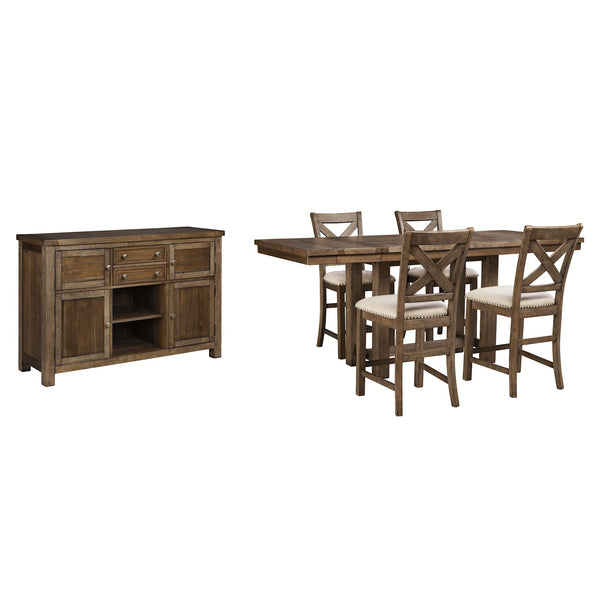 Moriville 6 Piece Dining Room - Grayish Brown