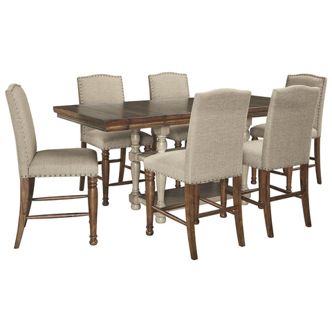 Lettner 7 Piece Pub Set - Gray/Brown